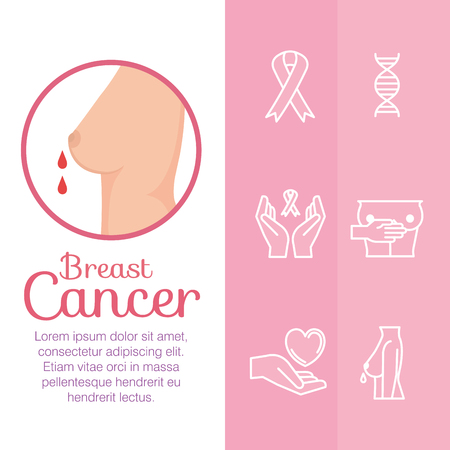 breast female with cancer set icons vector illustration design Illustration