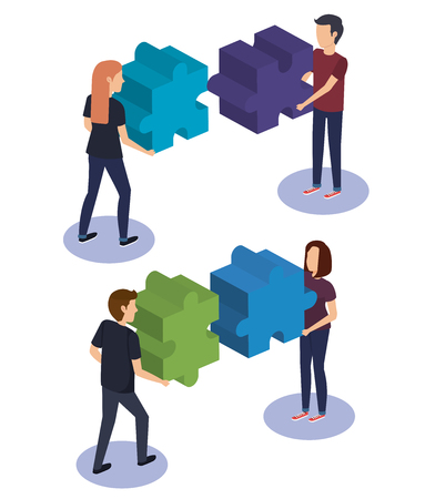 people teamwork with puzzle pieces vector illustration design Illustration