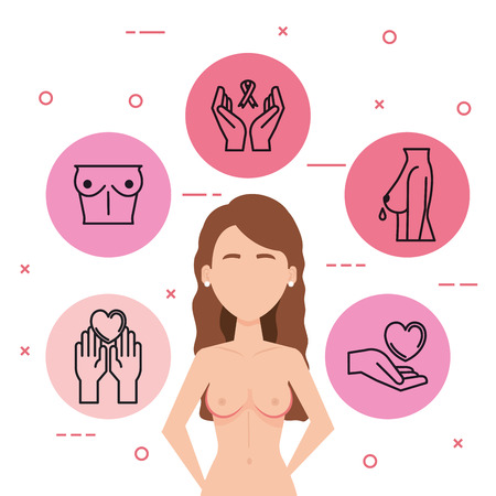woman figure with cancer vector illustration design