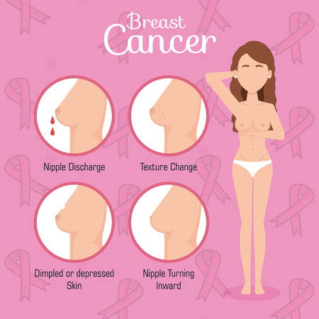 woman figure with breast cancer vector illustration design Illusztráció