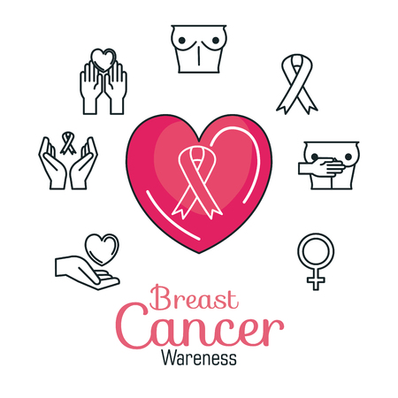 heart with pink ribbon breast cancer icons vector illustration design