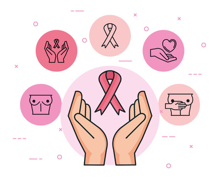 hands with ribbon with breast cancer icons vector illustration design Çizim
