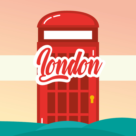 visit london telephone box degrade background vector illustration