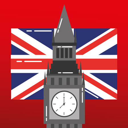 visit london big ben flag background vector illustration
