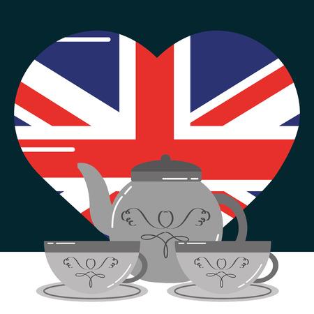 visit london cups of tea heart flag vector illustration Stock Illustratie