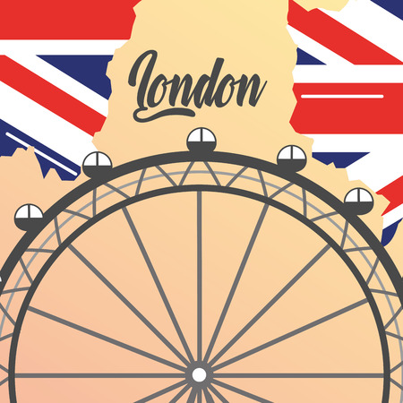 visit london eye attaction grunge flag vector illustration Illustration