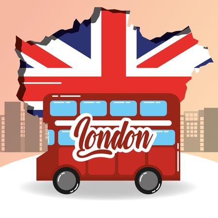 Besuchen Sie London Doppeldecker Grunge Flagge Stadt Hintergrund Vektor-Illustration Vektorgrafik