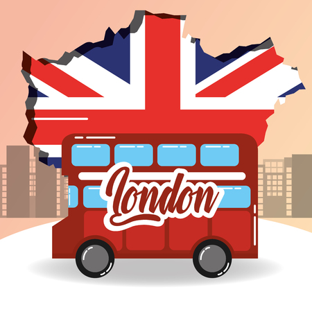 visit london double decker grunge flag city background vector illustration