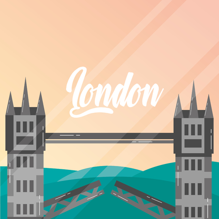 visit london tower bridge vintage style vector illustration