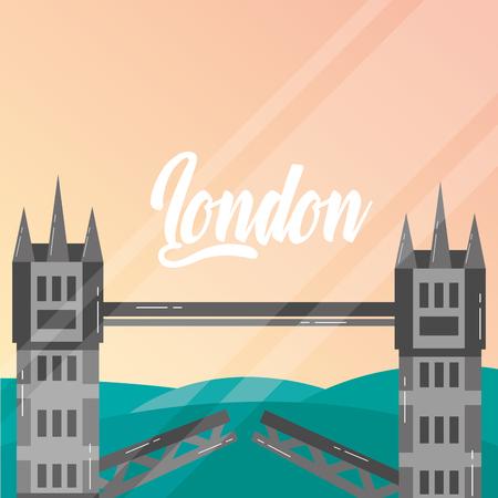 visit london tower bridge vintage style vector illustration