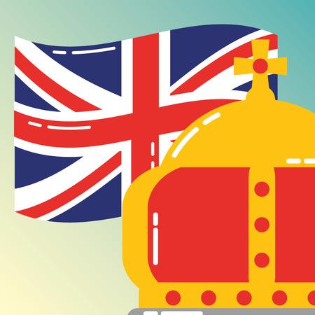visit london crown queen royal flag vector illustration Foto de archivo - 110492784