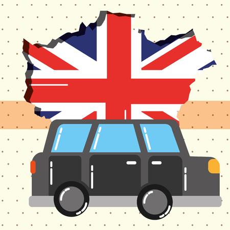 visit london car transportation grunge flag vector illustration