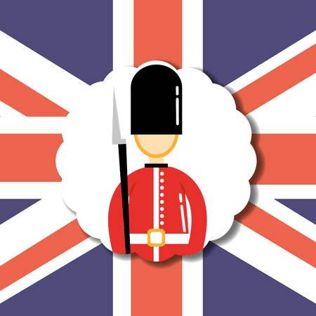 visit london label british soldier flag background vector illustration
