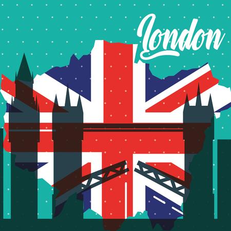 visit london tower bridge grunge flag style vector illustration 일러스트