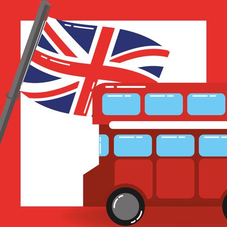 visit london double decker frame flag vector illustration