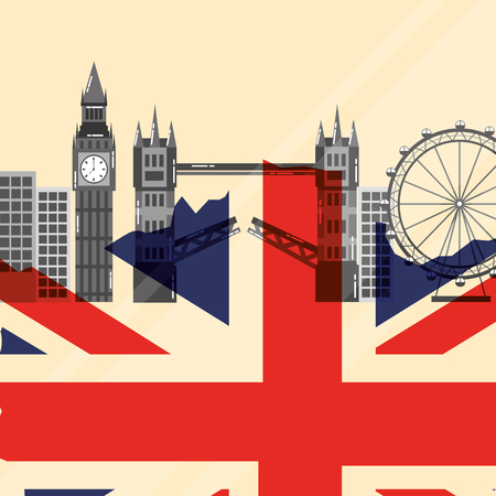visit london eye big ben tower bridge buildings flag vector illustration