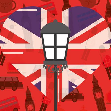 visit london lamp big ben car heart flag background vector illustration