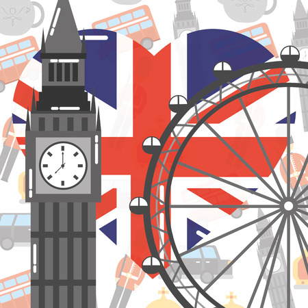 visit london eye big ben heart flag background vector illustration