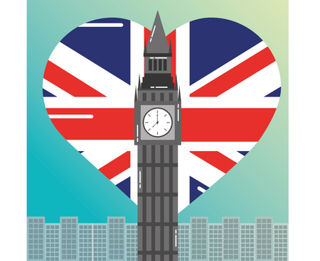 visit london big ben city heart flag background vector illustration Illustration