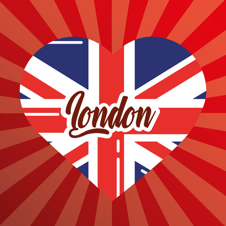 visit london heart flag sign retro style vector illustration
