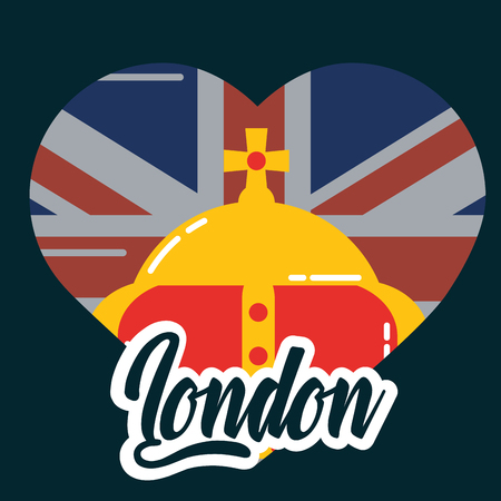 visit london crown queen heart flag vector illustration Illustration