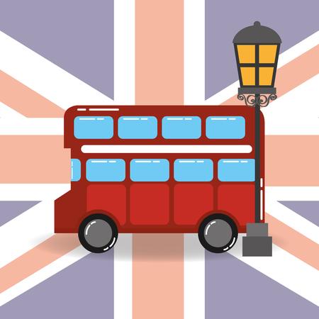 visit london double decker lamp flag background vector illustration Stock Illustratie