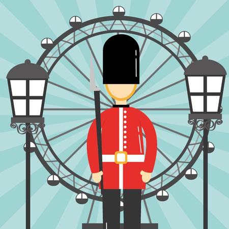 visit london eye british soldier lamps vector illustration