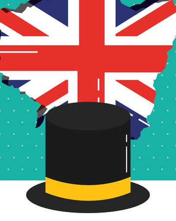 visit london traditional hat heart flag grunge vector illustration