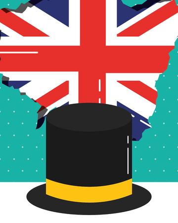 visit london traditional hat heart flag grunge vector illustration