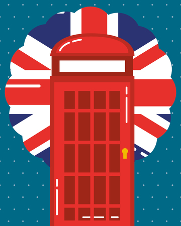 visit london telephone box label flag vector illustration