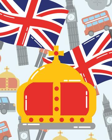 visit london crown queen flags big ben car background vector illustration