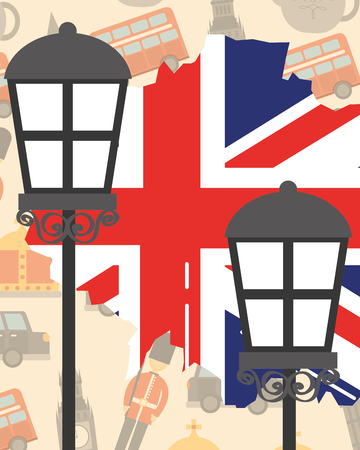 visit london lamps grunge flag style vector illustration