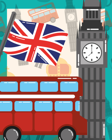 visit london double decker big ben flag vector illustration