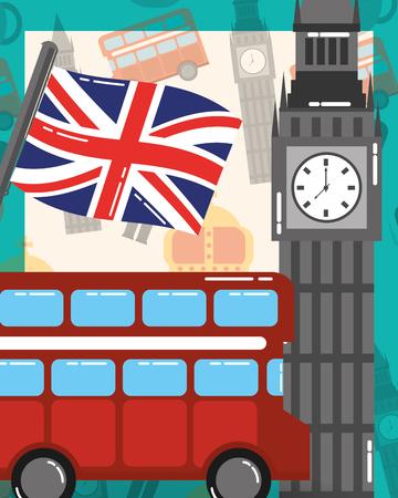 visit london double decker big ben flag vector illustration
