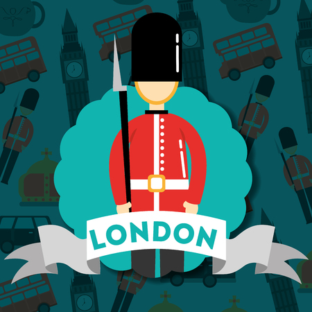 visit london sticker ribbon british soldier vector illustration Stock Illustratie