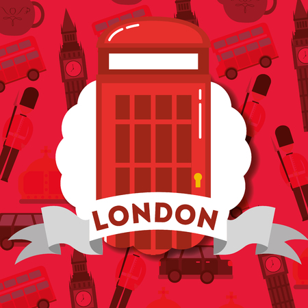 visit london label ribbon sign telephone box vector illustration