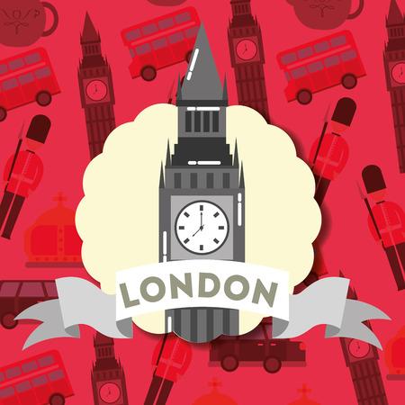 visit london sticker sign ribbon big ben vector illustration Фото со стока - 110492799