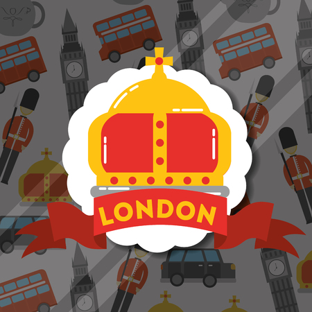 visit london sticker red ribbon sign crown queen vector illustration