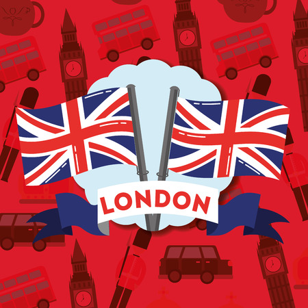 visit london blue ribbon sign sticker flags vector illustration Illustration
