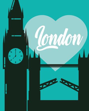 visit london tower bridge big ben heart sign vector illustration