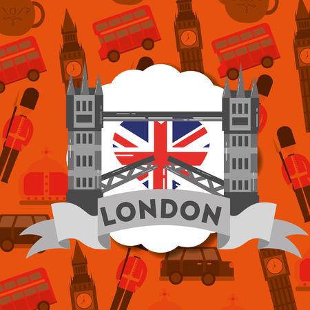 visit london sticker tower bridge ribbon sign vector illustration Иллюстрация