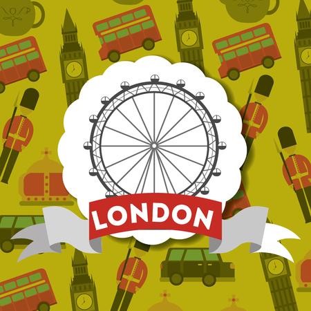 visit london eye sticker sign ribbon vector illustration Иллюстрация