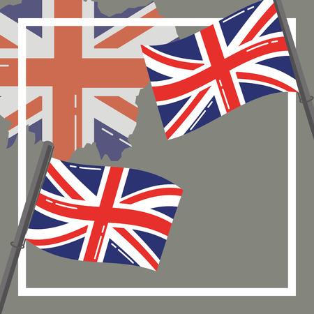 visit london flags grunge style background vector illustration