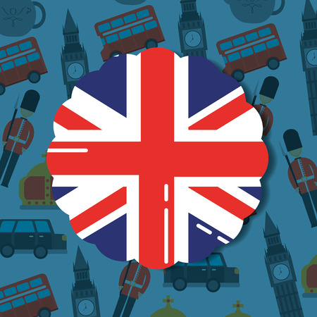 visit london sticker flag big ben car british soldier background vector illustration