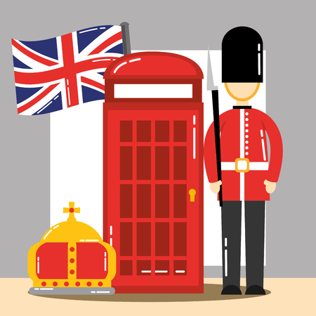 visit london telephone box crown queen british soldier flag vector illustration Illustration