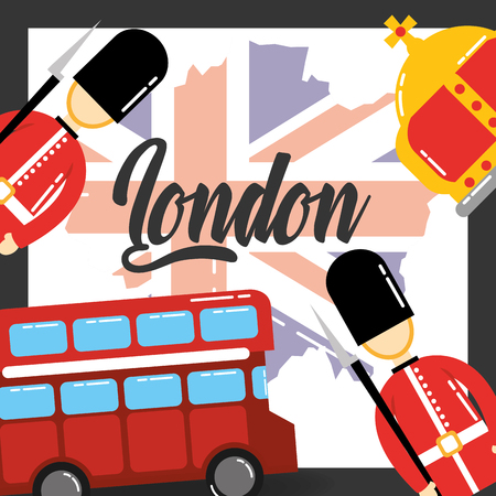 visit london crown queen british soldiers double decker flag background vector illustration  イラスト・ベクター素材