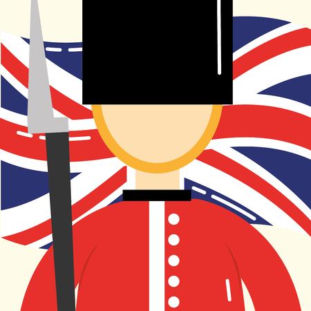 visit london british soldier wave flag background vector illustration Иллюстрация