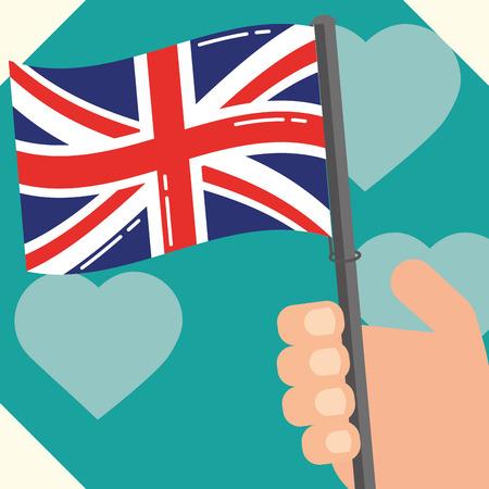 visit london hand holding flag hearts background vector illustration Stock Illustratie