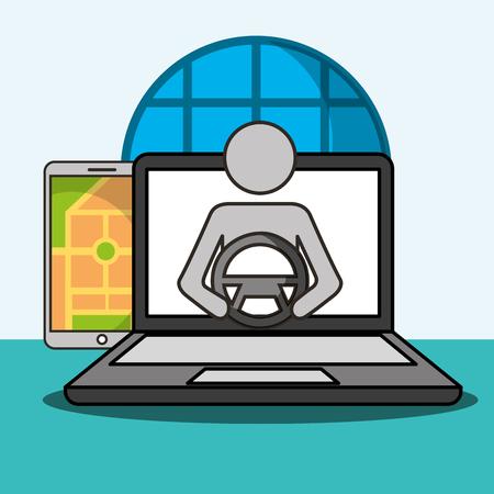 smartphone computer screen male driving ubication vector illustration