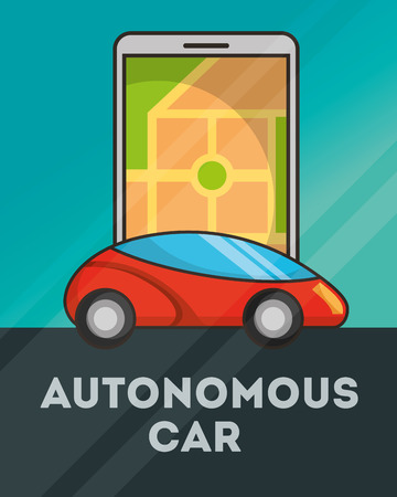 autonomous car smartphone screen ubication sign vector illustration